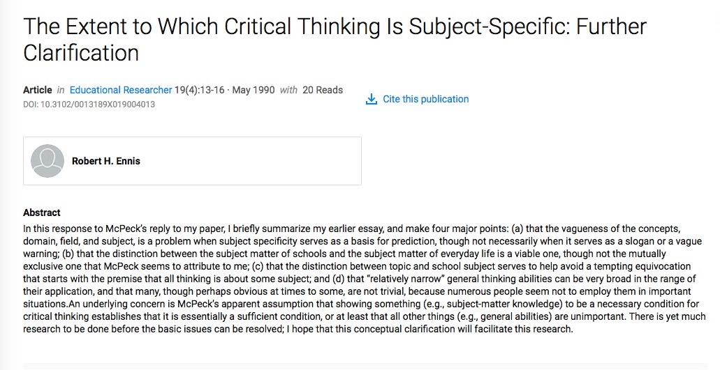 The Extent To Which Critical Thinking Is Subject Specific: Further  Clarification